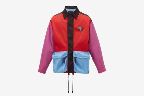 Colour-Block Cargo-Pocket Nylon Jacket