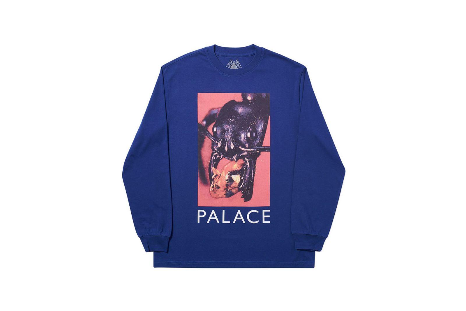 Palace 2019 Autumn Longsleeve T Shirt Bug Munch blue 1364 ADJUSTED