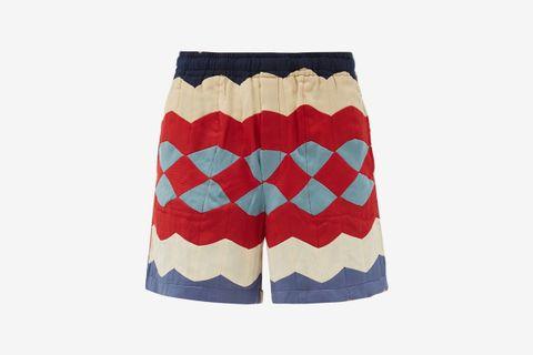 Chevron Patchwork Upcycled-Twill Shorts