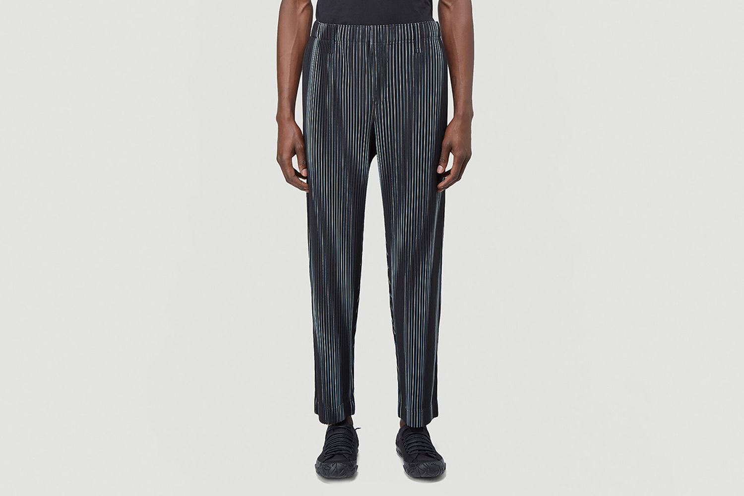 Contrast-Stripe Pleated Pants