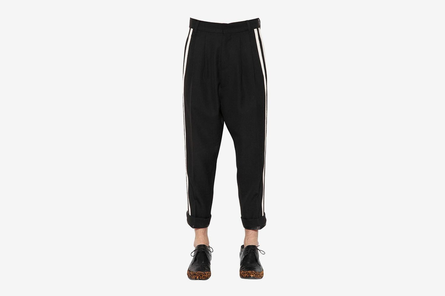 Cropped Wool Pants with Side Bands