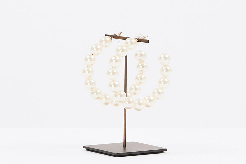 lele-sadoughi-Pearl Hoop Earrings