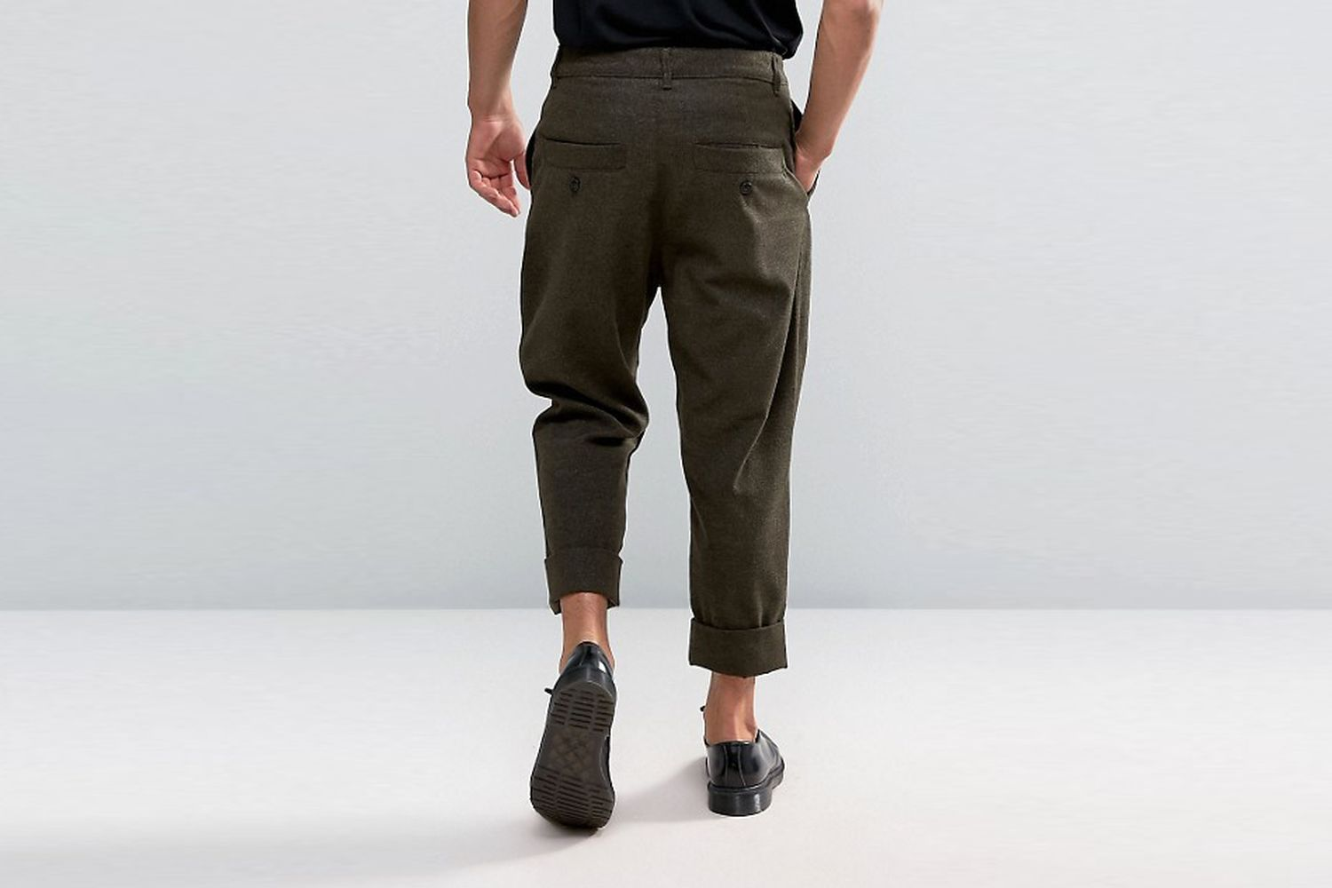 Cropped Wool Look Trousers