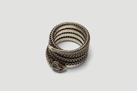 Gucci Garden Snake Ring in Silver