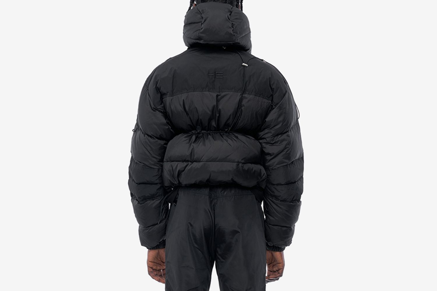 Down Jacket with Elastic Drawstring Attached Pouch