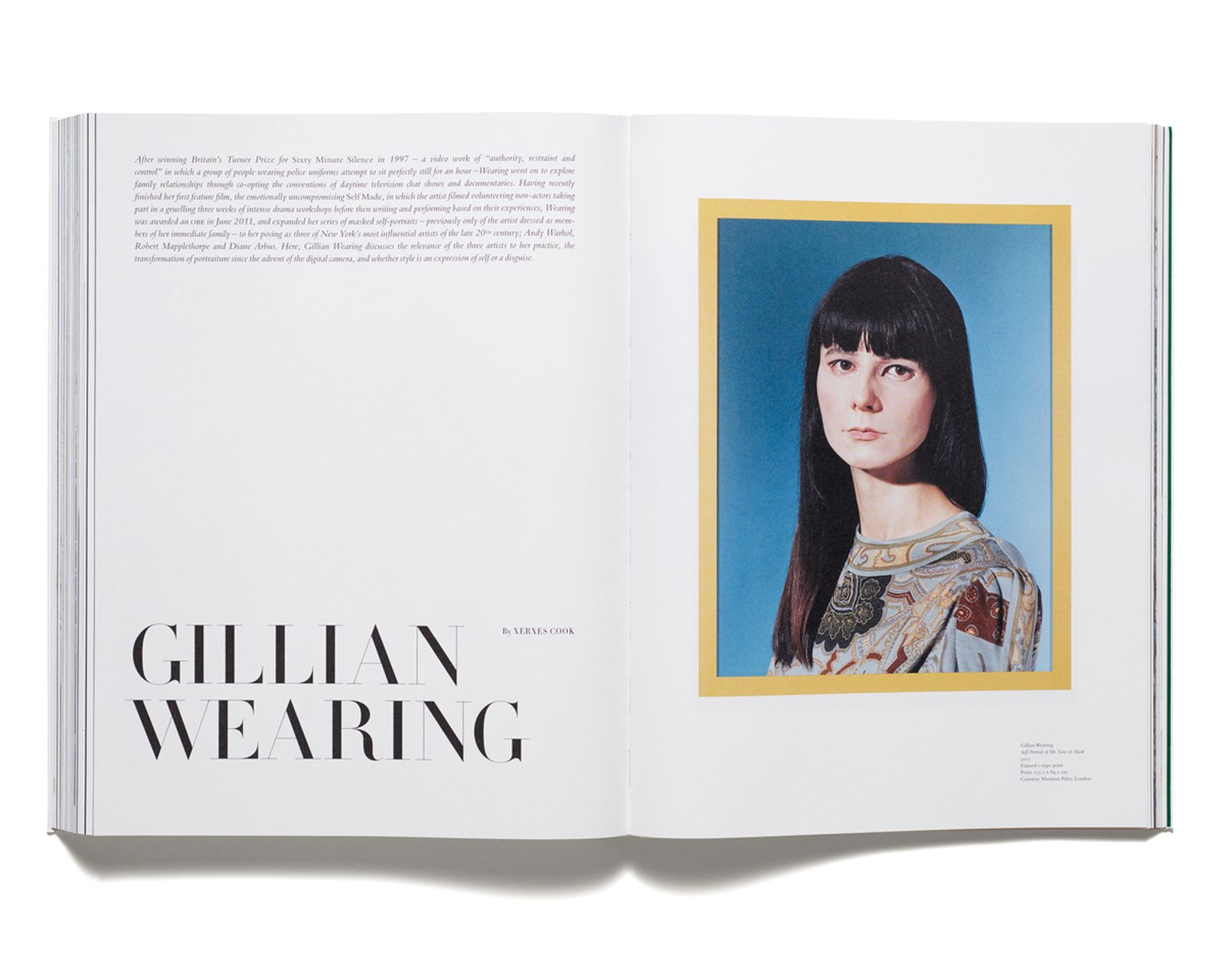 GILLIAN WEARING - Gillian Wearing interviewed by Xerxes Cook for 'Acne Paper' issue 13, 2012. Art work by Gillian Wearing.