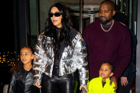 Kim Kardashian, Kanye West, North West and Saint West in NYC