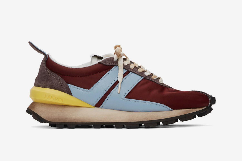 Burgundy Nylon Bumper Sneakers