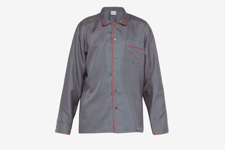 Wave-Print Silk-Satin Pyjama Top