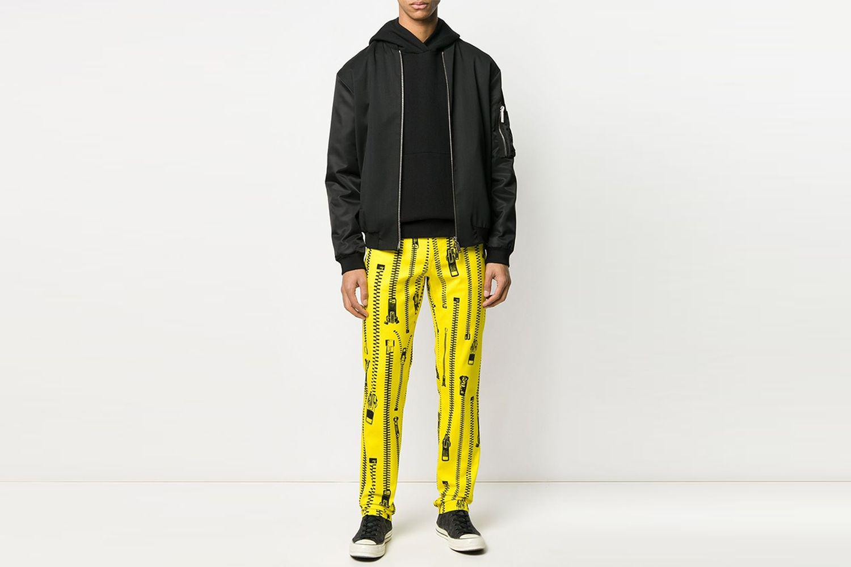 Zip-Print Straight-Leg Trousers