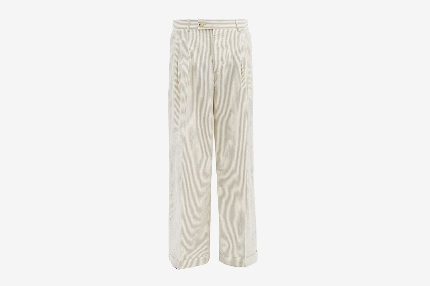 Wide-Leg Striped Cotton-Blend Poplin Trousers