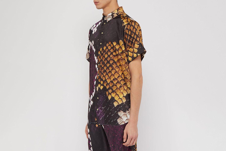 Python-Print Short-Sleeved Satin Shirt
