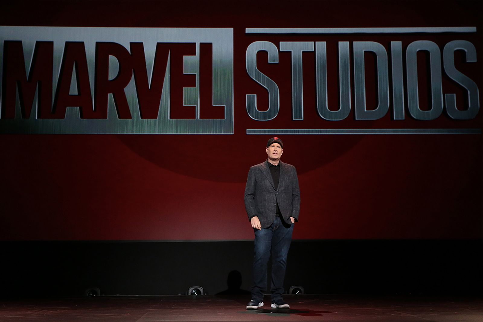 Kevin Feige onstage comic con