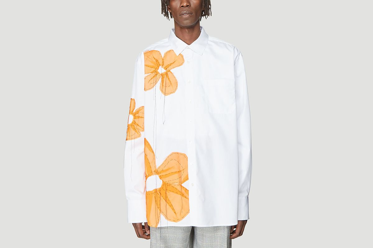 Flower Appliqué Shirt