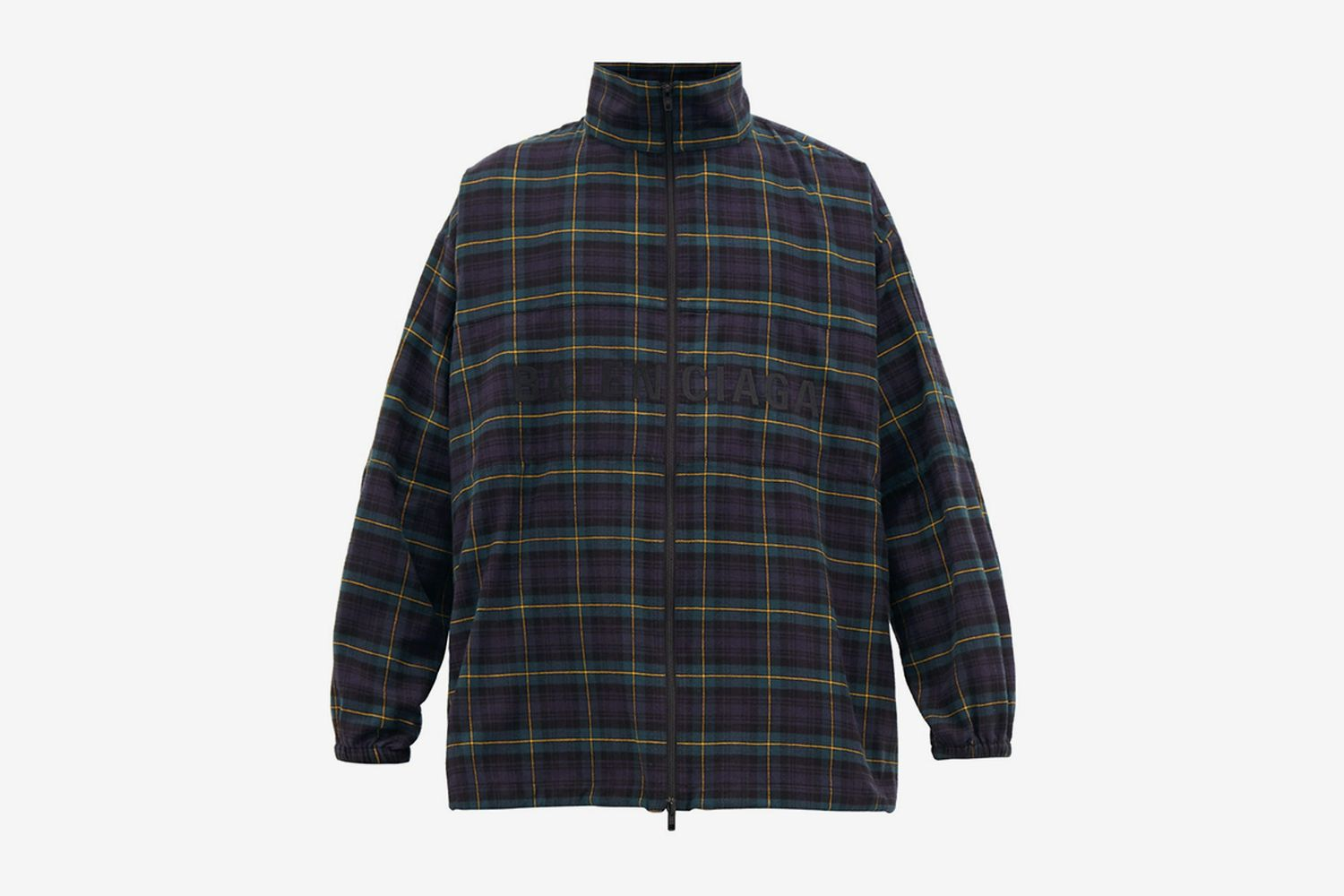 Logo-Embroidered Checked Flannel Jacket