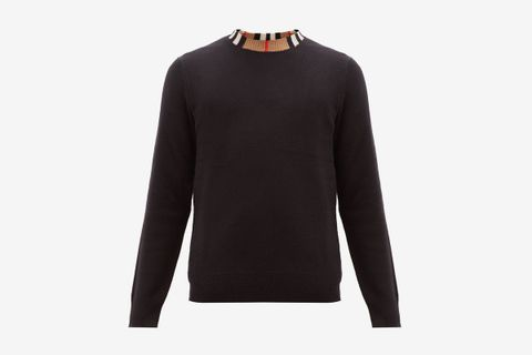 Noland House-Check Collar Cashmere Sweater