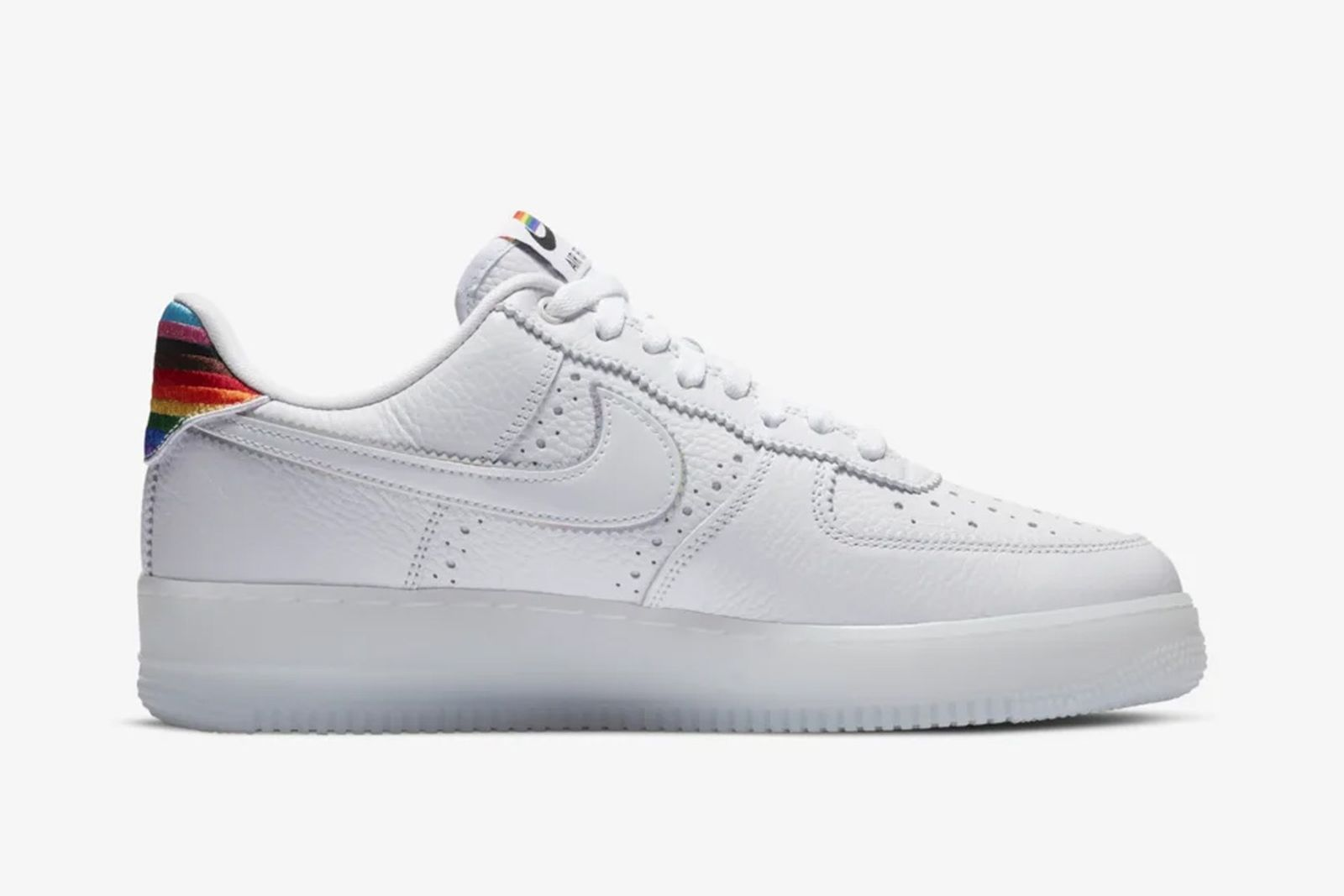 White and rainbow Pride Nike Air Force 1 side view