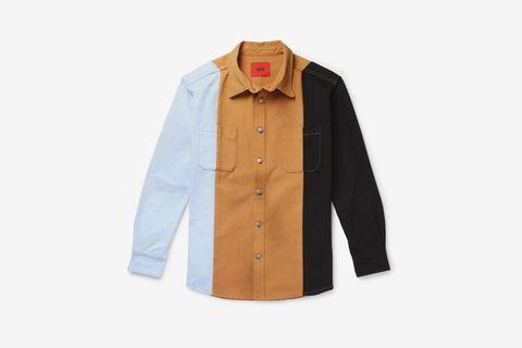 Oversized Colour-Block Denim Shirt