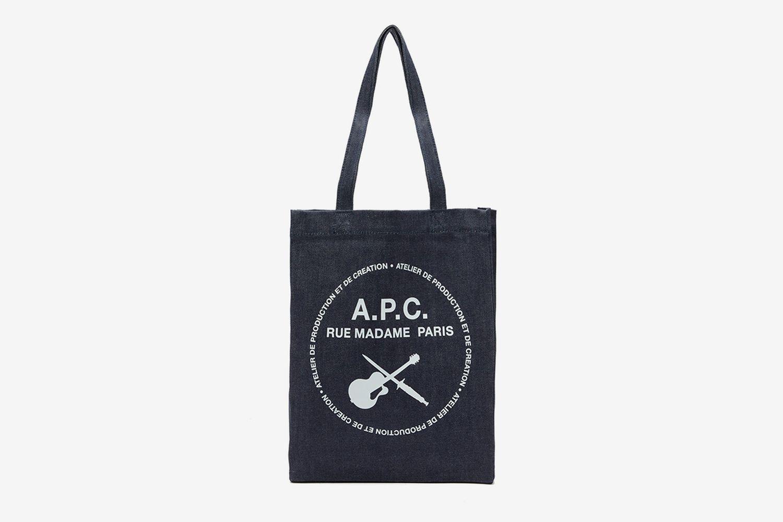 Logo-Print Denim Tote Bag