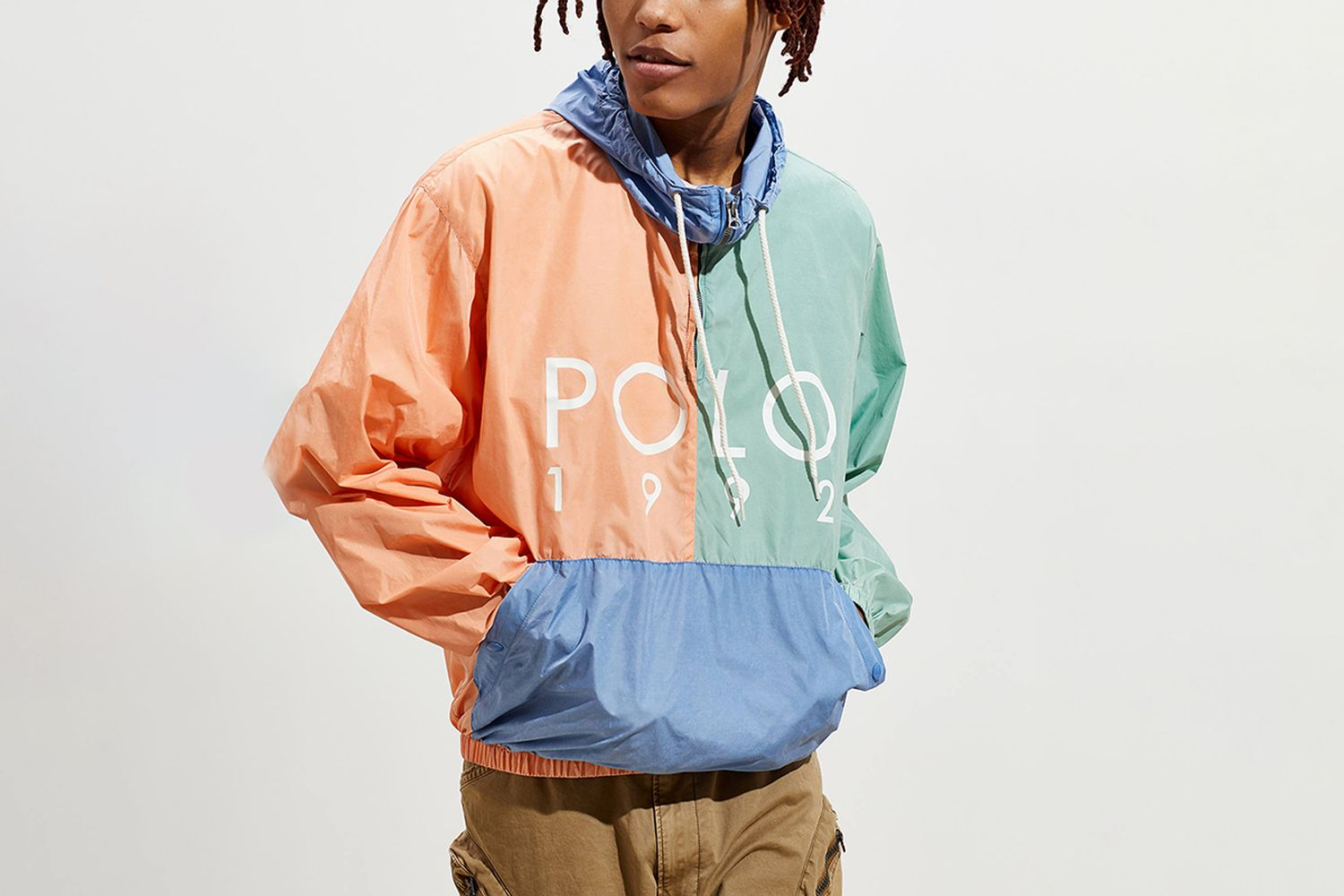 Nylon Colorblock Windbreaker Jacket