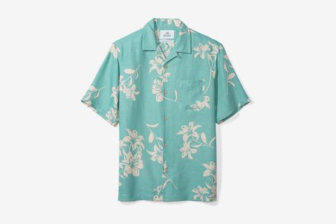 Relaxed-Fit Silk/Linen Tropical Hawaiian Shirt