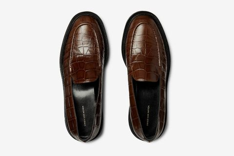 Croc-Effect Leather Loafers