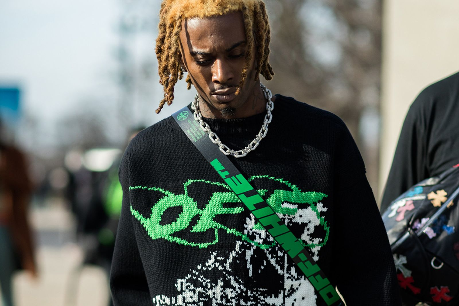 Playboi Carti in Off-White Sweater At Paris Fashion Week