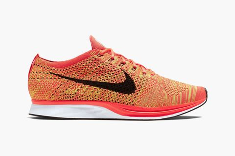 """check out 37618 243f3 There have been versions aplenty of Nike s popular Flyknit Racer, and their  latest introduction – the shoe in a """"Bright Crimson Black Volt"""" colorway –  is ..."""