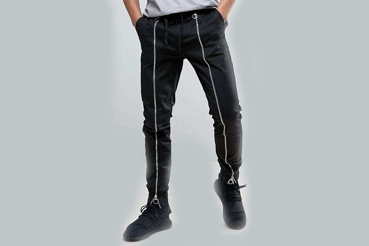 Slim Joggers With Front Zip Detail
