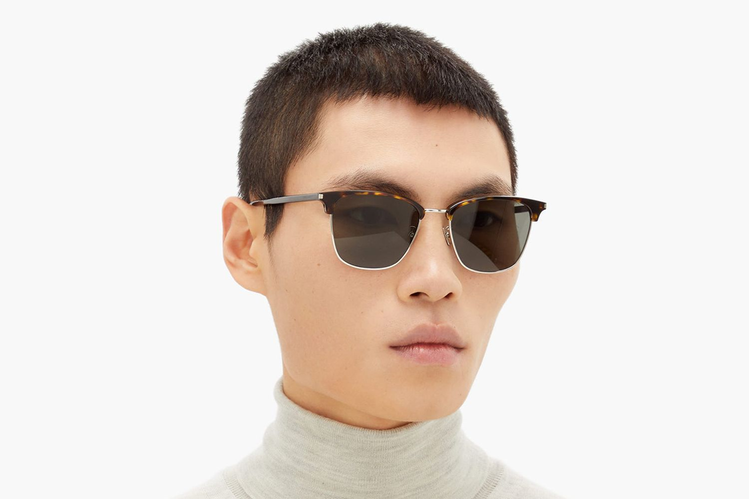 Logo-Engraved Square Metal & Acetate Sunglasses