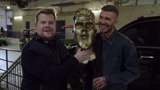 david beckham statue prank The Late Late Show with James Corden
