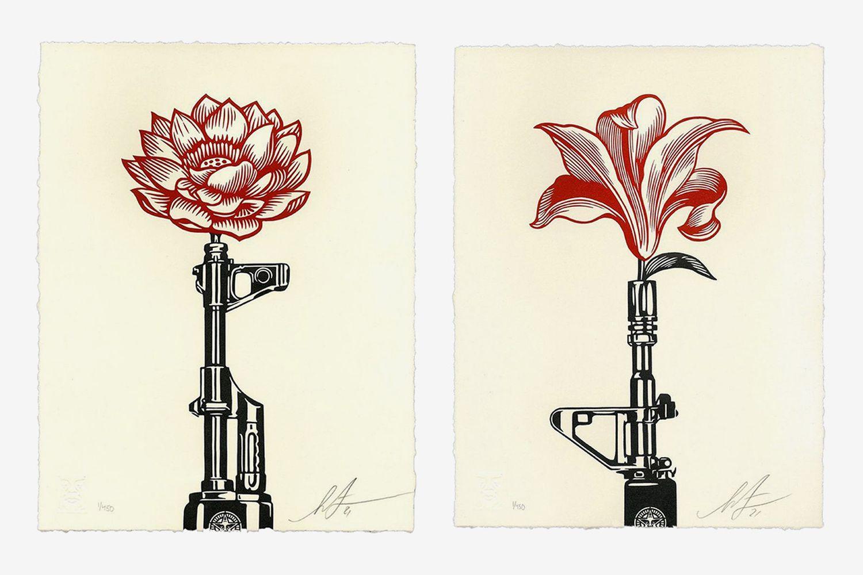 AK-47 Lotus Letterpress & AR-15 Lily Letterpress Print