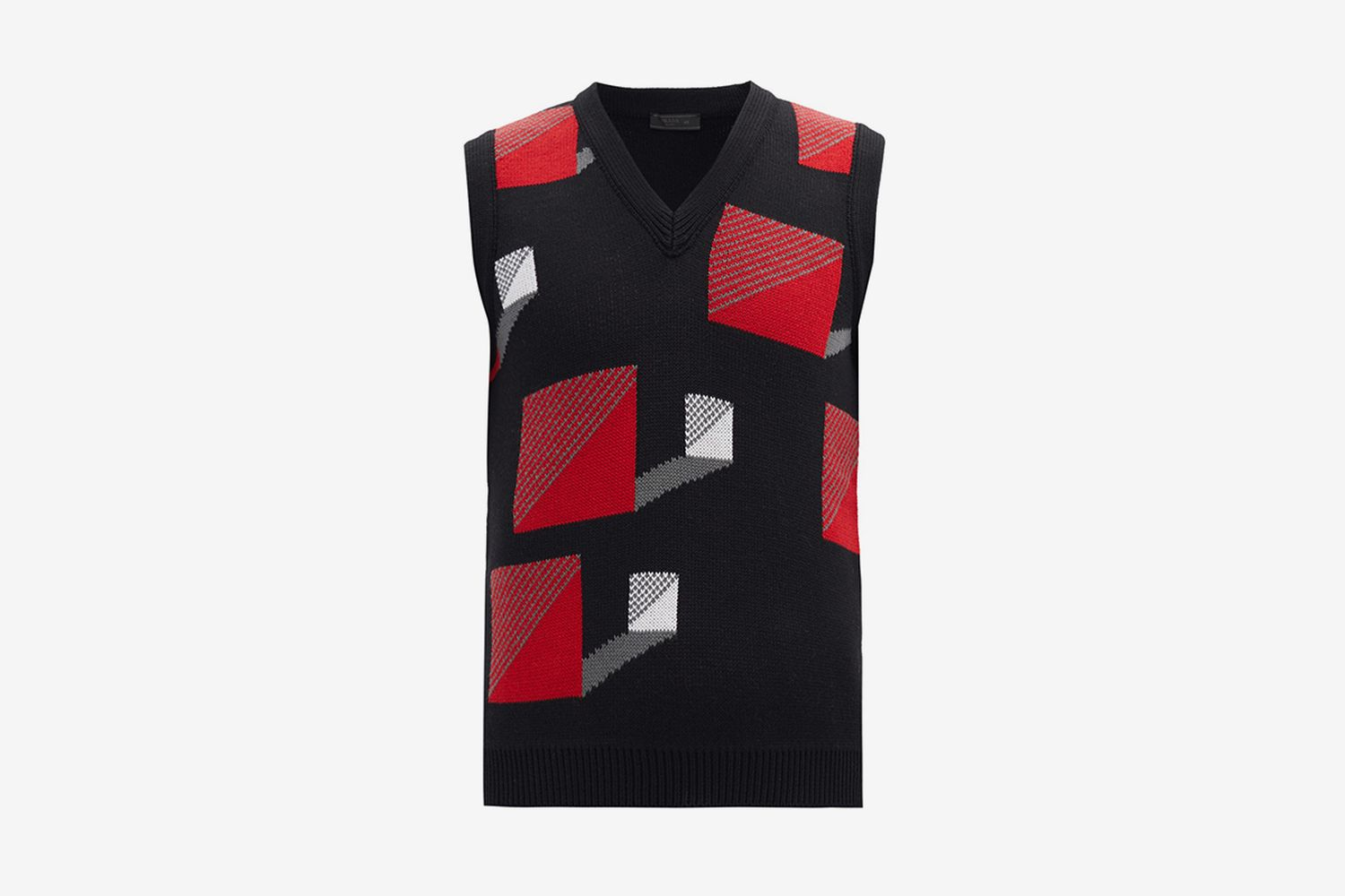 Square-Jacquard Wool Sleeveless Sweater