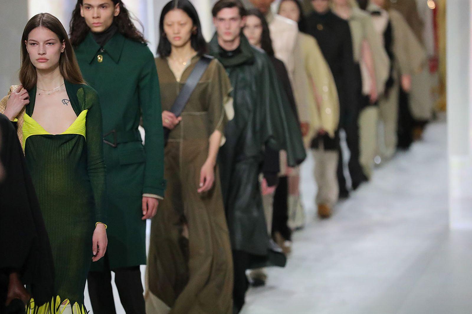odels walk the runway during the Bottega Veneta fashion show