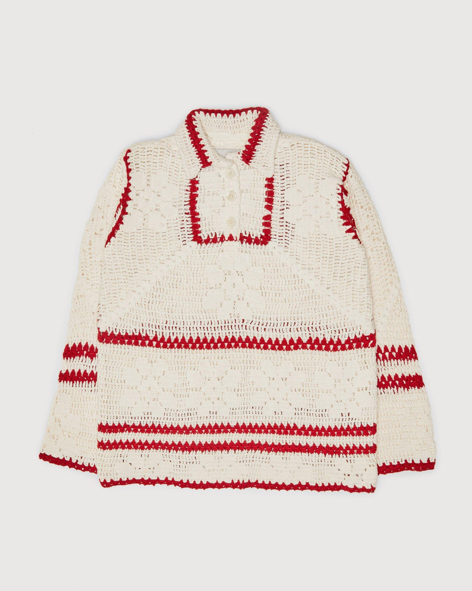 BODE - Mockneck Crochet Pullover White Red - Image 1