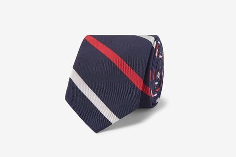 5cm Striped Silk and Cotton-Blend Tie