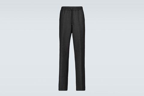 Herringbone Drawstring Wool Pants