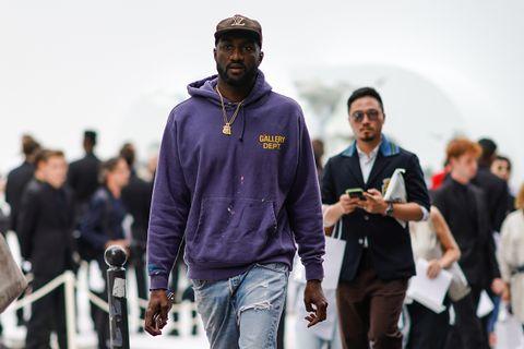 Virgil Abloh purple hoodie Louis Vuitton hat