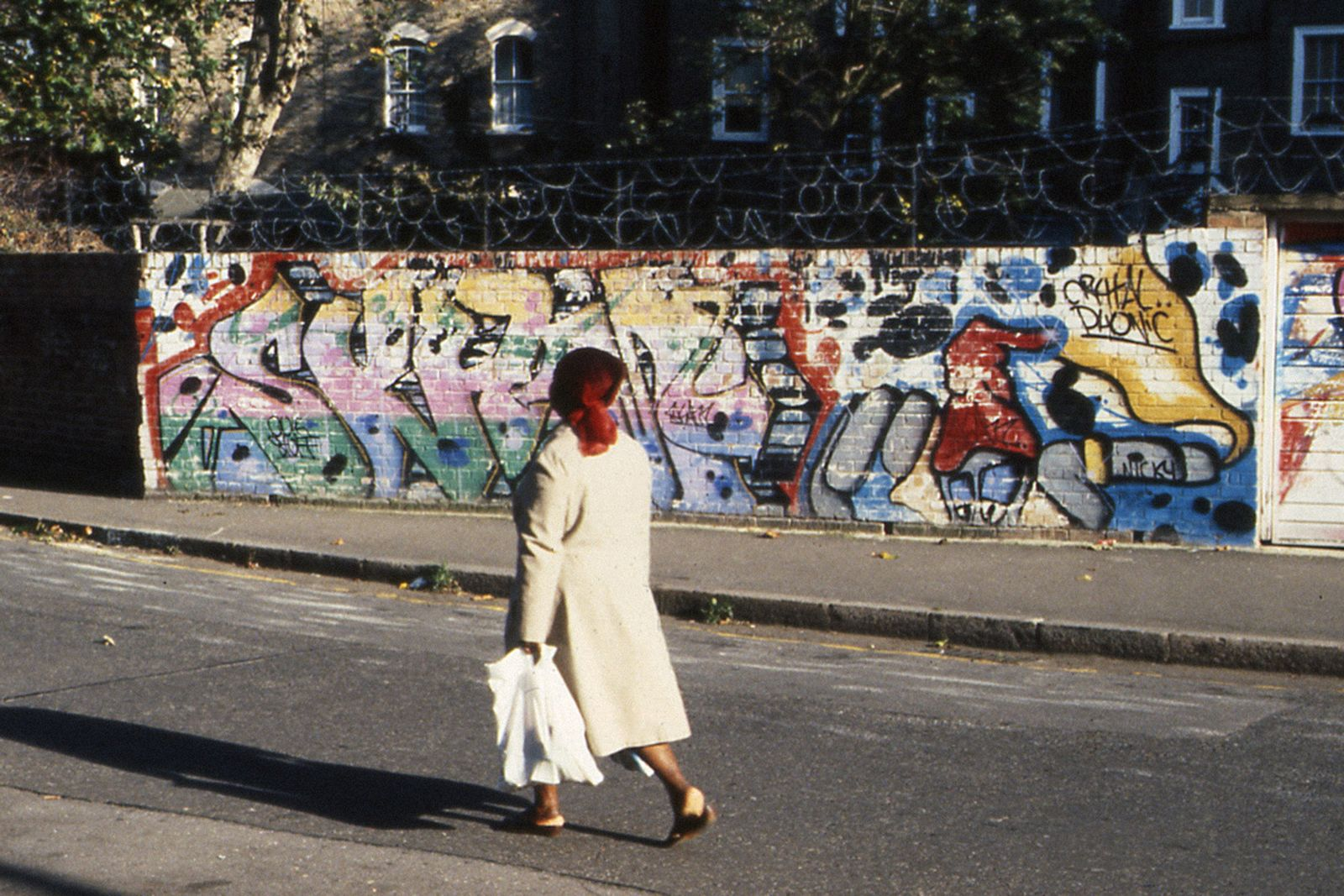 Old wall by Scam in Westbourne Park, London, 1980s