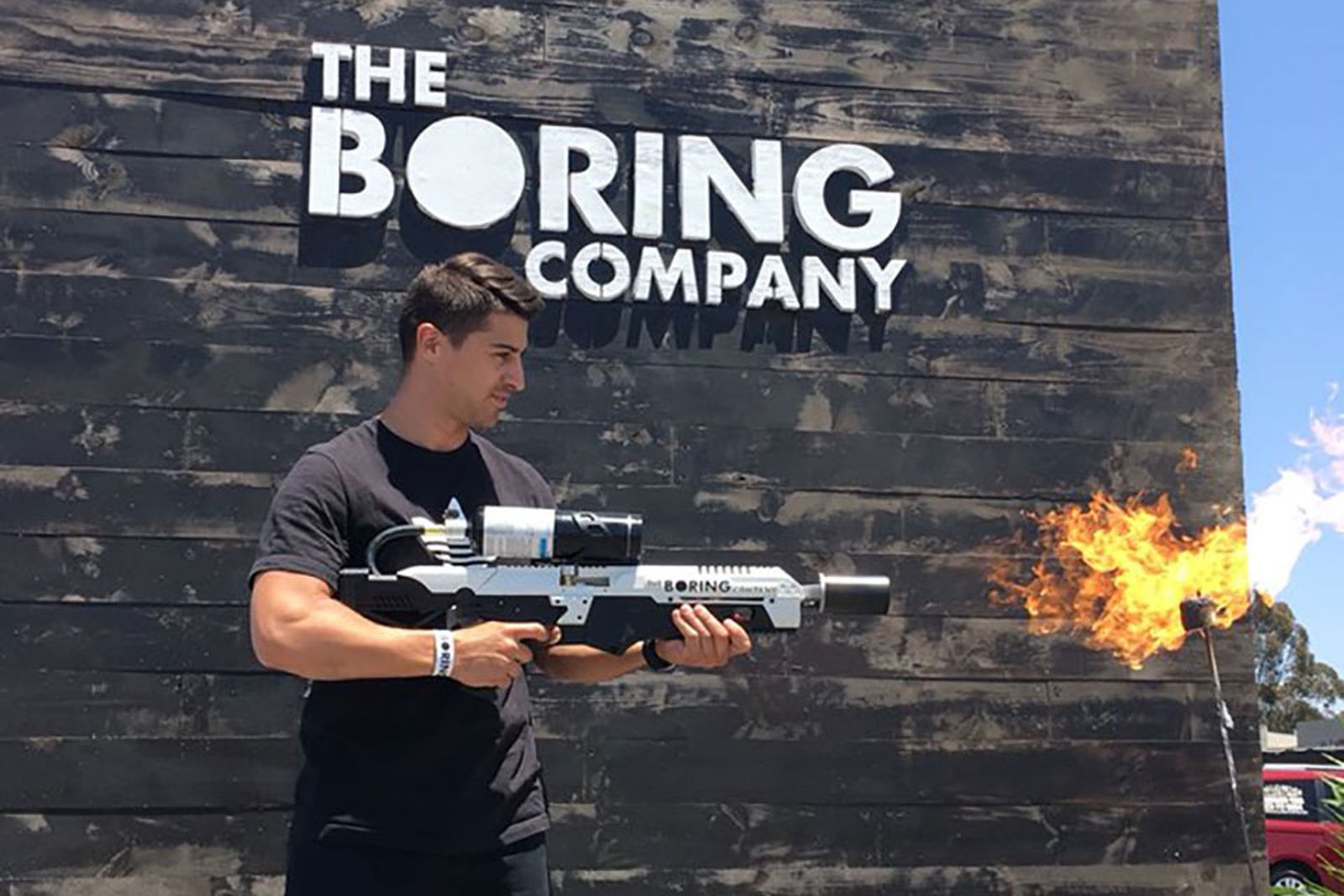 elon musk boring company flamethrower photos