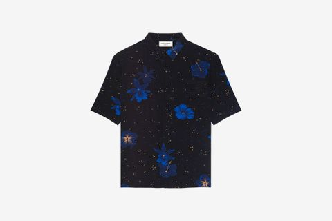 Shirt in Confetti Hibiscus Silk Crepe de Chine