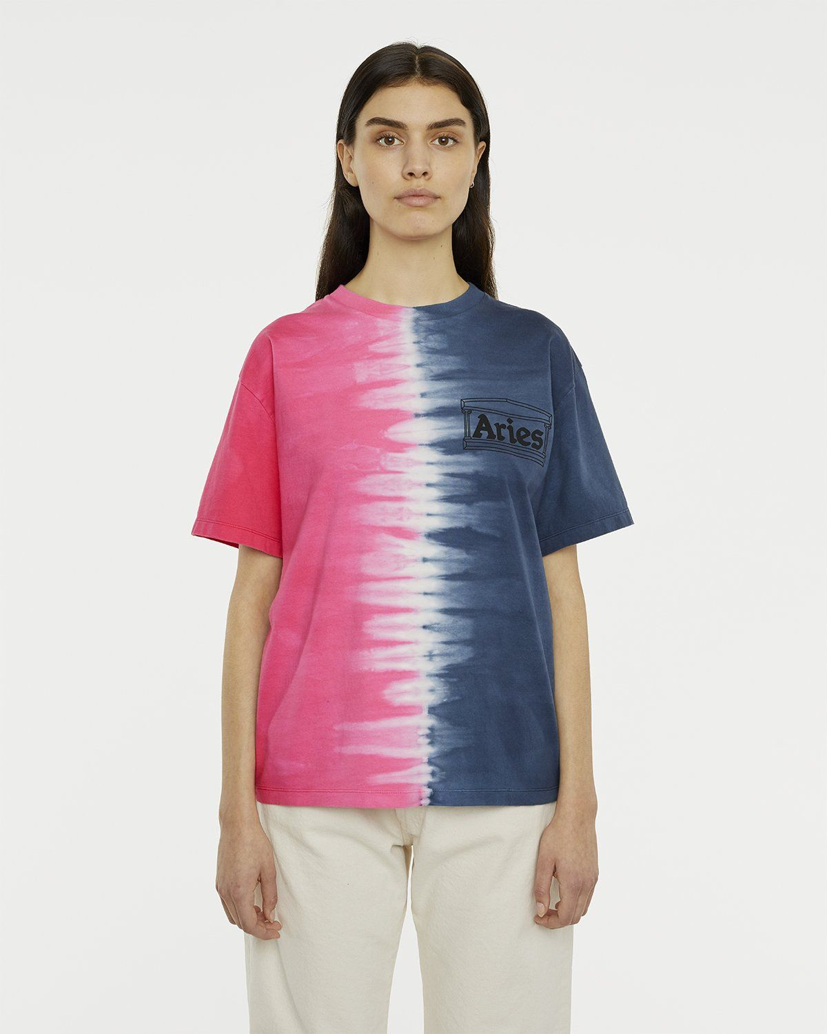 Aries - Tie Dye Half and Half Tee Blue/Fuchsia - Image 4