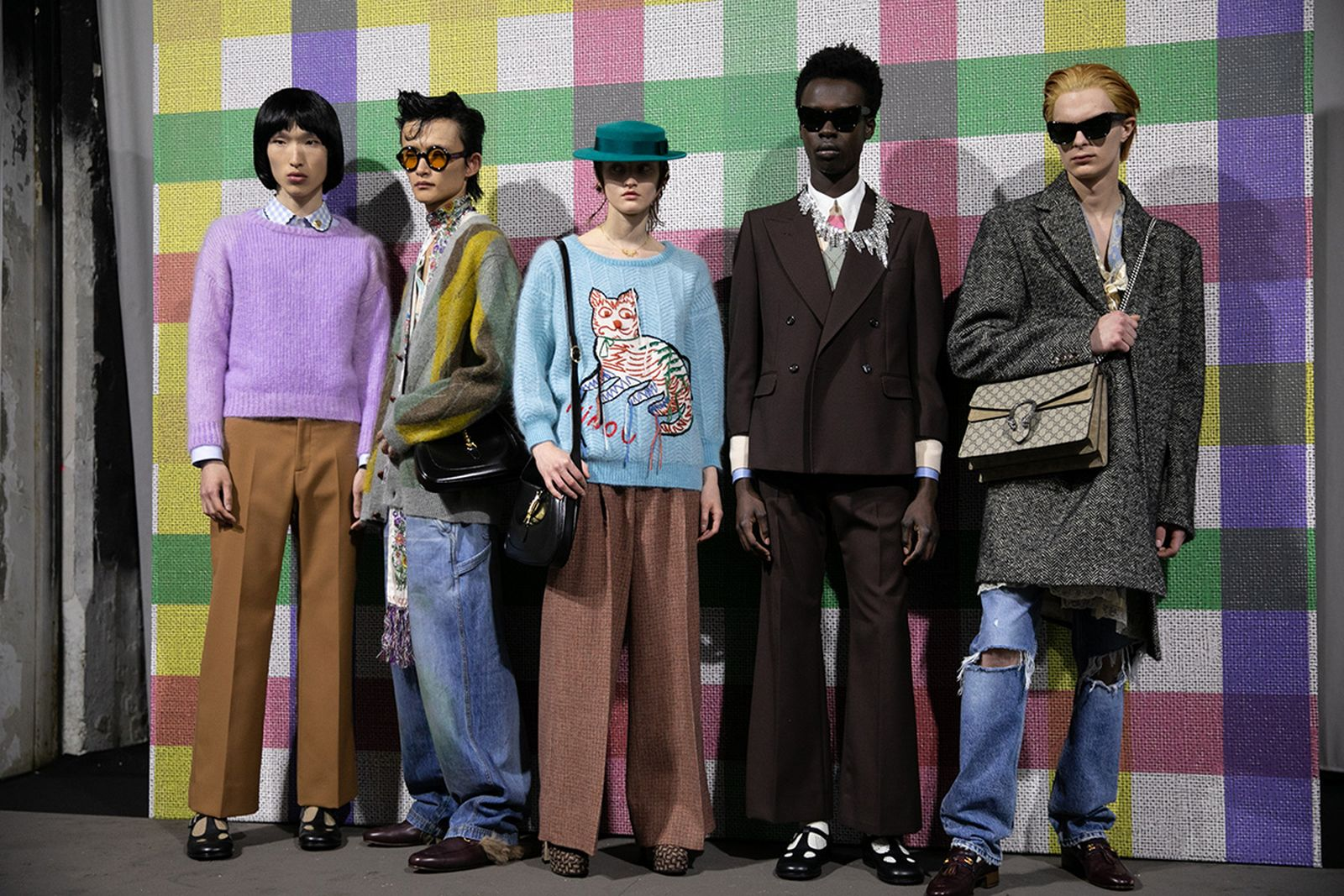 models line up for Gucci Mens fashion show