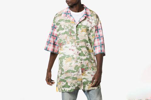 Oversize Printed Cotton Bowling Shirt