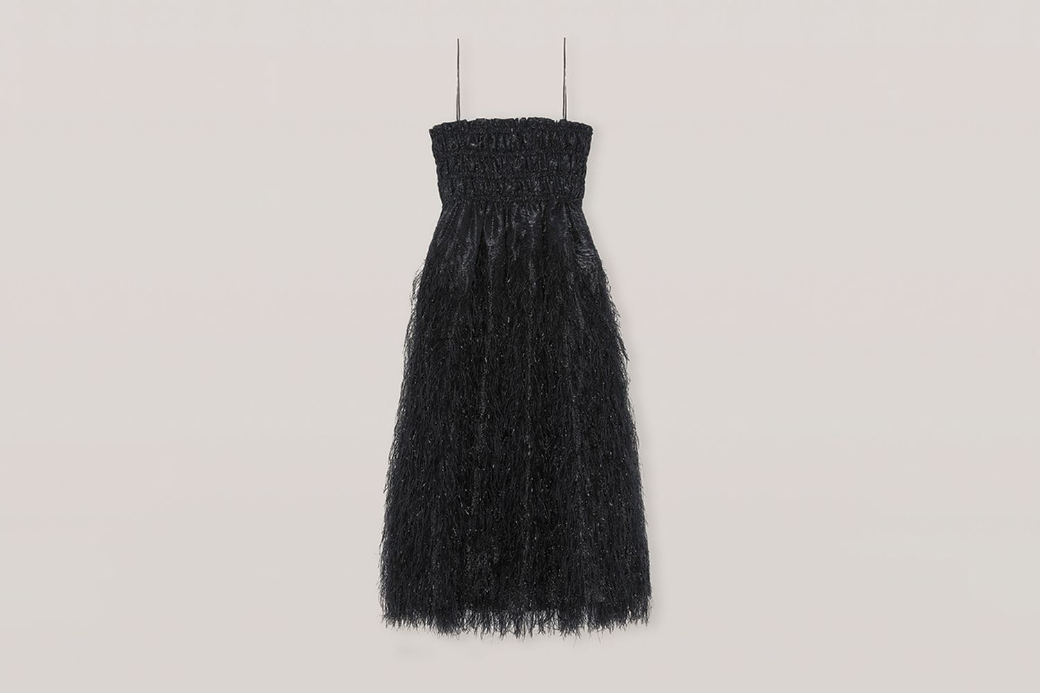 Feather-Detailing Midi Dress
