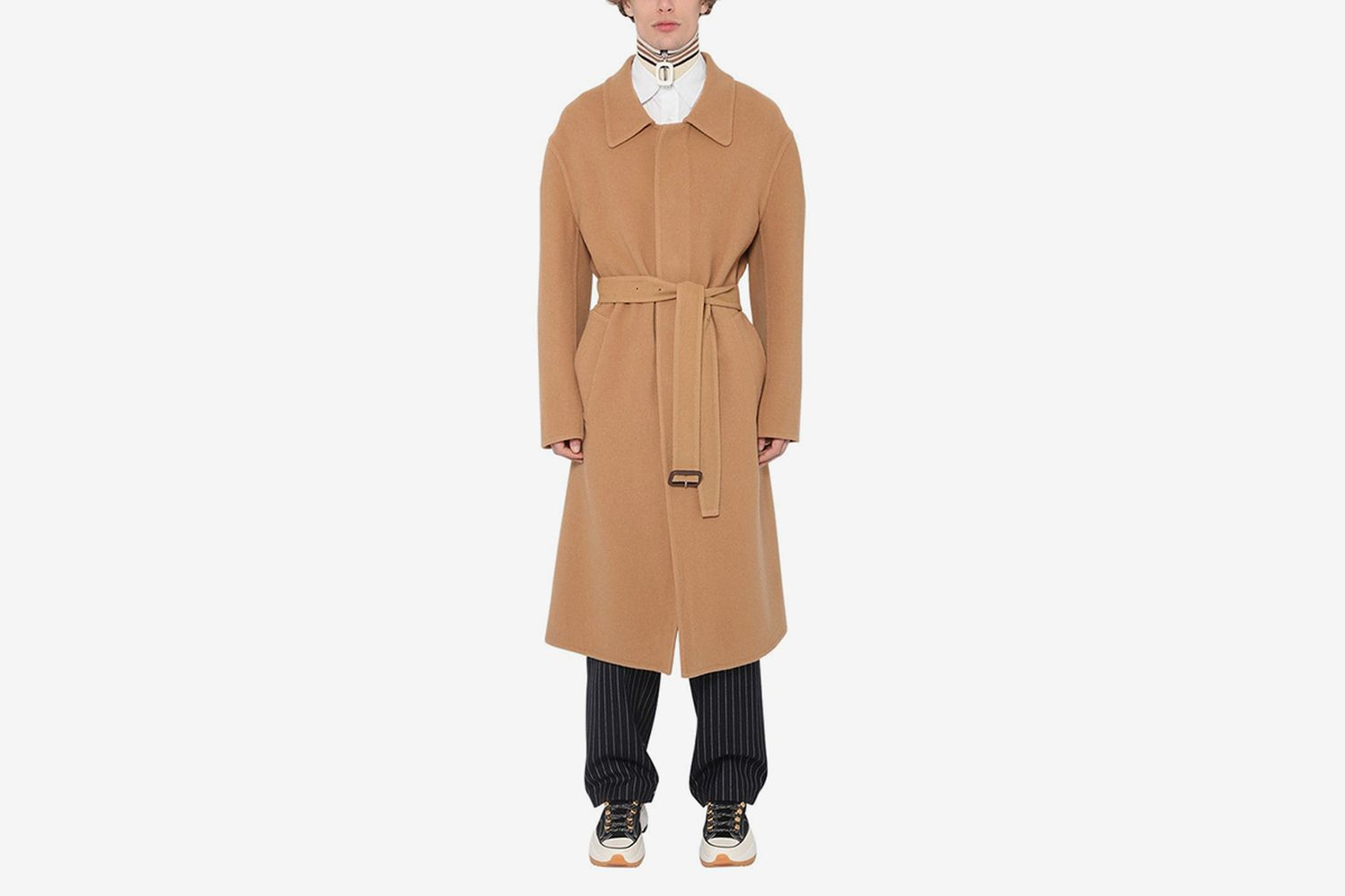 Oversize Cashmere & Cotton Coat W/ Belt