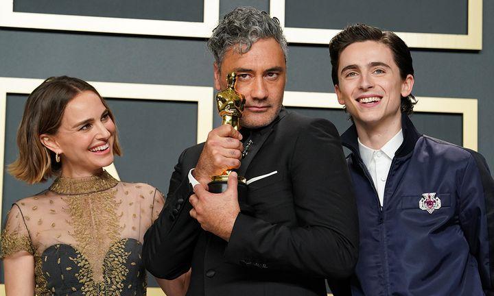Natalie Portman, Taika Waititi, and Timothée Chalamet at the 92nd Annual Academy Awards