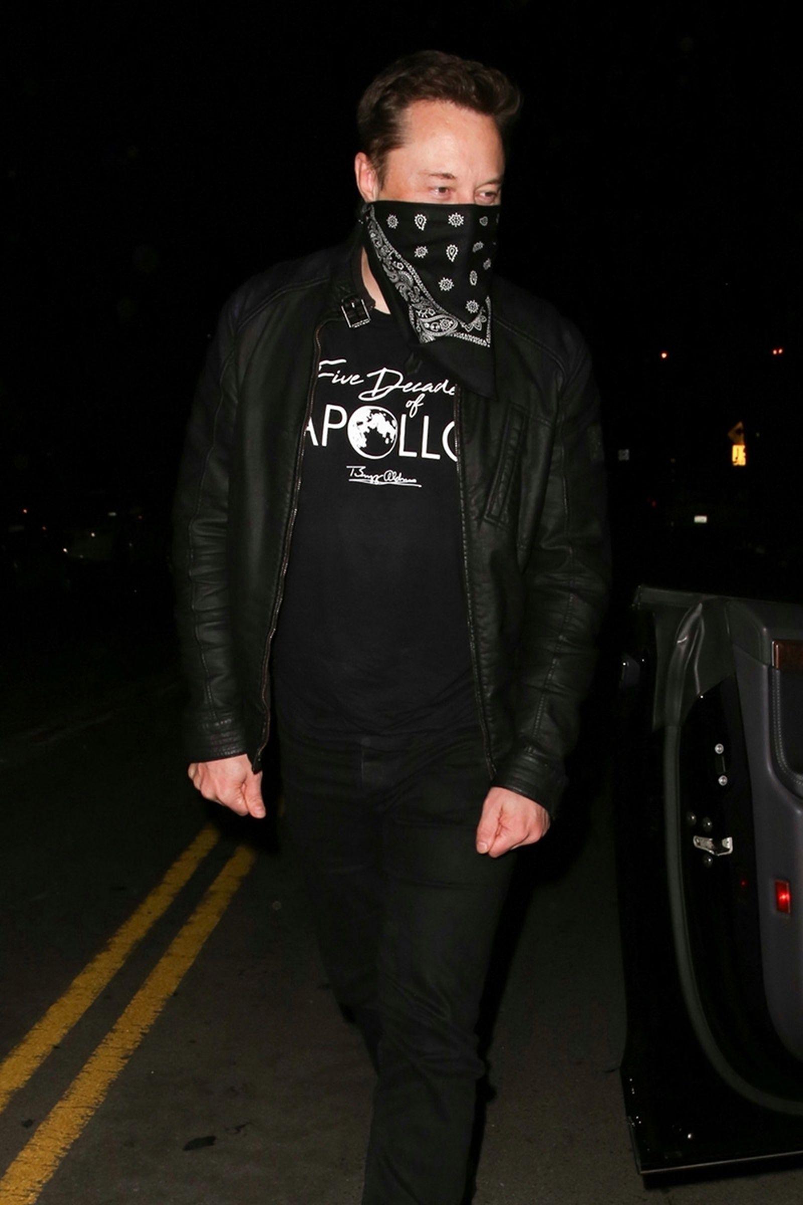 Elon Musk wearing a bandana