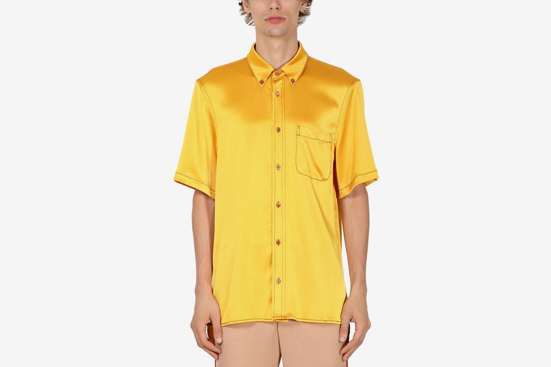 Crinkled S/S Tech Satin Shirt