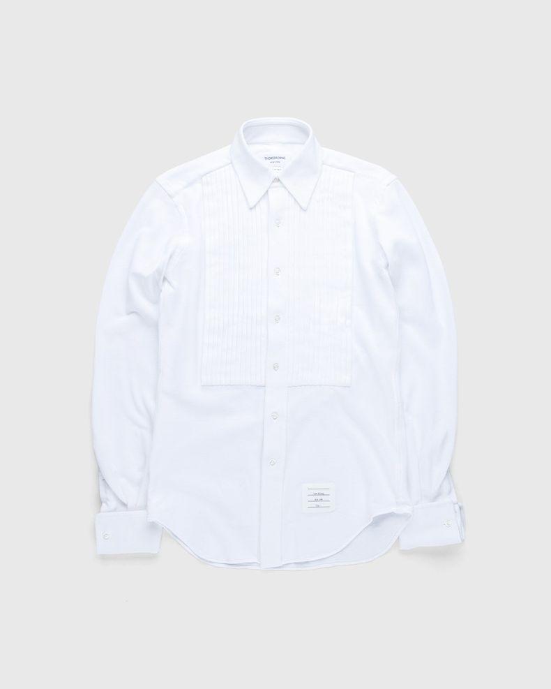 Thom Browne x Highsnobiety — Men's Pique Ruffled-Bib Tux Shirt White